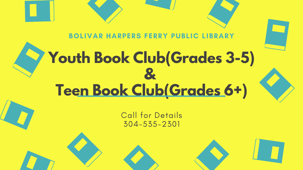 The library is hosting youth and teen bookclubs for grades 3-5 and 6+ respectively. Call for details